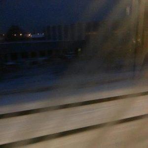 il neige, départ très tôt en train pour être sûre d'arriver