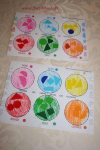 activité de coloriage et association de couleurs