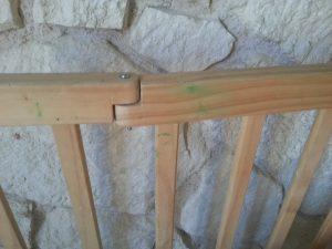 des pousses vertes sur la barrière en bois