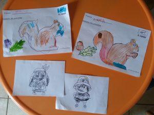 coloriages de personnages de Thanksgiving et des écureuils qui s'invitent à la fête ;-)