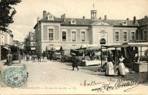 carte-postale-Ancienne-Rambouillet-Un-Jour-de-Marché